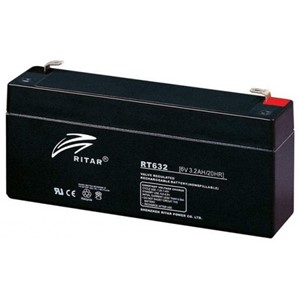 RITAR AGM Batteri 6V 3,2AH (134x35x61mm) F1